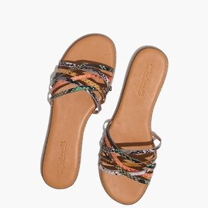 Madewell Criss Cross Snake Print Leather Sandals